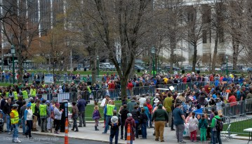 """People arriving during the """"science fair"""" part of the day."""