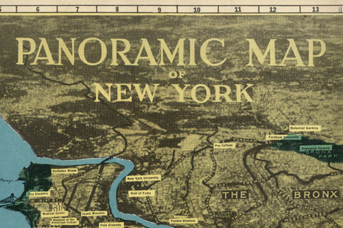 Panoramic Map of New York City, title section