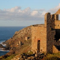 Old tin mine engine houses on the Cornish coast at Botallack; 09-01-11