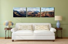 Borrowdale Mountains Panorama - 3 Panel Canvas on Wall