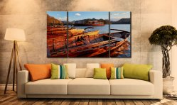 Golden Boats at Dusk - 3 Panel Canvas on Wall
