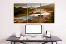 Morning Mists Over Little Langdale - 3 Panel Canvas on Wall