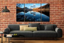 Golden Winter Sunlight Over Wast Water - 3 Panel Canvas on Wall