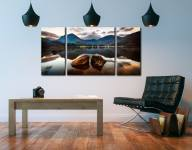 Buttermere Rocks - 3 Panel Wide Centre Canvas on Wall