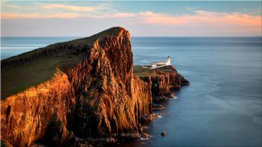 Golden Cliffs Neist Point Lighthouse - Canvas Print