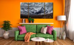 Black Cuillins Snow Fall - 3 Panel Wide Centre Canvas on Wall