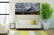 Black Cuillins Snow Fall - 3 Panel Canvas on Wall