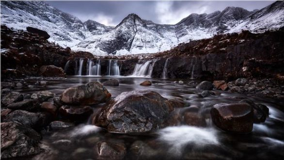 Fairy Pools Rocks Mountains Snow - Canvas Print