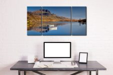 Peaceful Morning at Loch Fada - 3 Panel Wide Centre Canvas on Wall