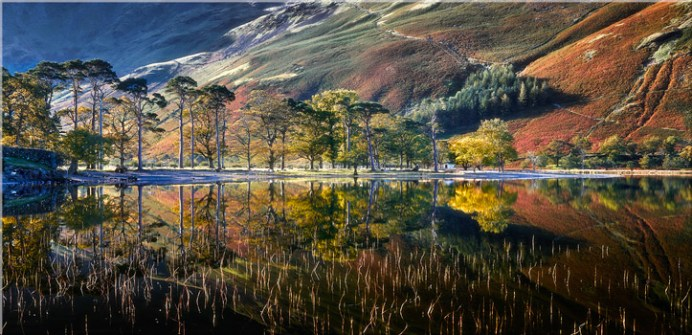 Buttermere Autumn Reflections - Canvas Print