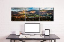Grasmere Village Panorama - 3 Panel Canvas on Wall