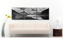 Dark Skies Over Wast Water Black White - 3 Panel Canvas on Wall