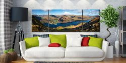 Ullswater and Glenridding Panorama - 3 Panel Wide Mid Canvas on Wall