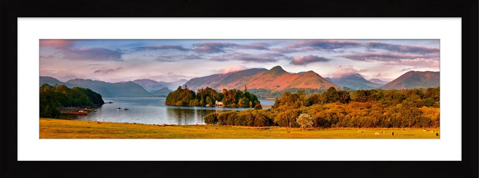 Derwent Water and Cat Bells in Morning Light - Framed Print