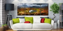 Loughrigg Tarn in Autumn Sunshine - 3 Panel Wide Mid Canvas on Wall