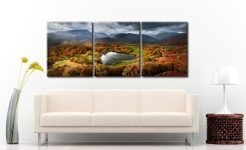 Loughrigg Tarn in Autumn Sunshine - 3 Panel Canvas on Wall