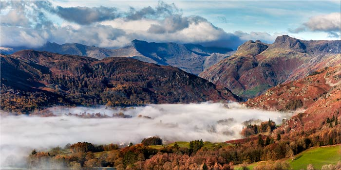 Great Langdale Mountains and Mist - Canvas Print