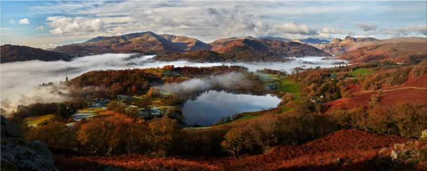 Loughrigg Tarn and Langdale Panorama - Canvas Prints