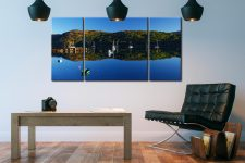Calm Loch Shieldaig Boats - 3 Panel Wide Centre Canvas on Wall