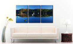 Calm Loch Shieldaig Boats - 3 Panel Canvas on Wall