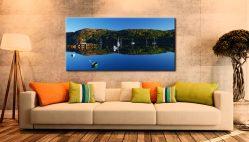 Calm Loch Shieldaig Boats - Canvas Print on Wall