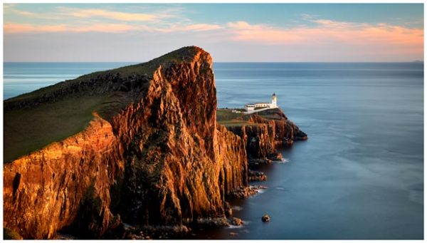 Golden Cliffs Neist Point Lighthouse - Isle of Skye Print