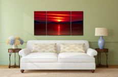 Red Sunset Over Outer Hebrides - 3 Panel Wide Centre Canvas on Wall