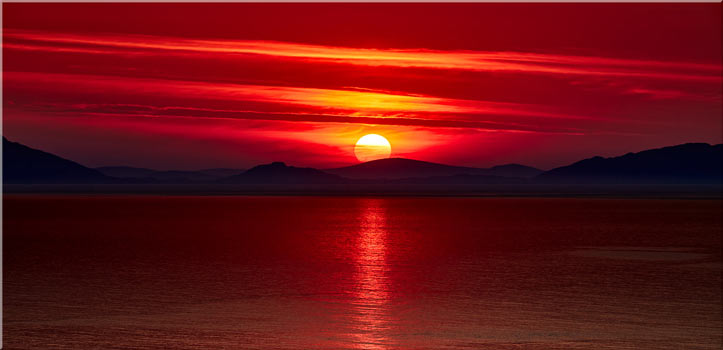 Red Sunset Over Outer Hebrides - Canvas Print