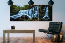 Upper Sgwd Isaf Clun-Gwyn Waterfall - 3 Panel Canvas on Wall