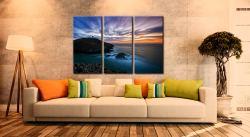 Strumble Head Lighthouse Seascape - 3 Panel Canvas on Wall