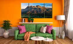 The Langdale Pikes in the Morning Light - 3 Panel Wide Centre Canvas on Wall