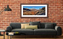 Eskdale Needle Winter Panorama - Framed Print with Mount on Wall