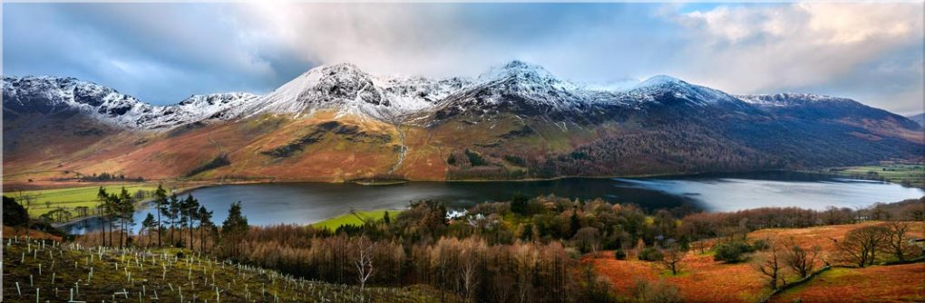 Buttermere Winter Panorama - Canvas Prints