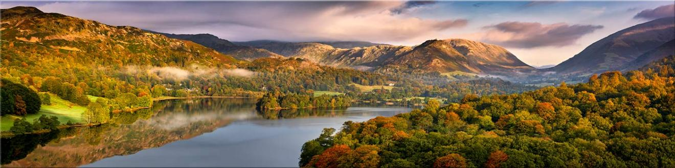 Grasmere Autumn Morning Panorama - Canvas Prints