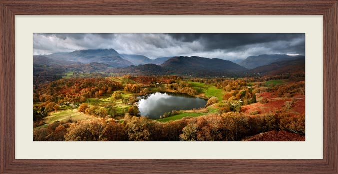 Loughrigg Tarn in Autumn Sunshine - Framed Print with Mount
