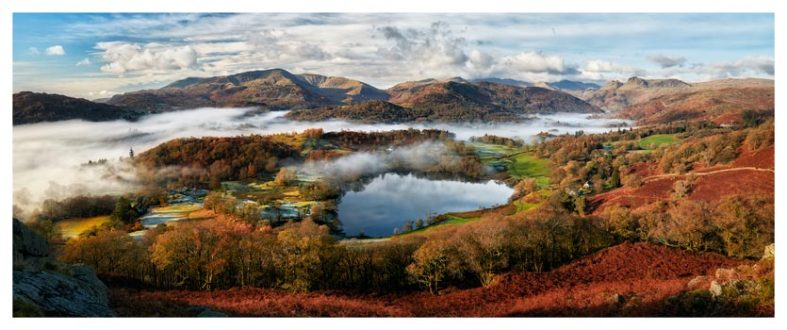 Loughrigg Tarn and Langdale Panorama - Lake District Print