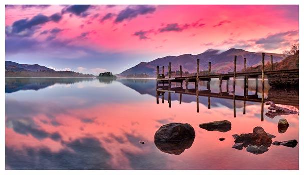 Pink Skies Derwent Water - Lake District Print