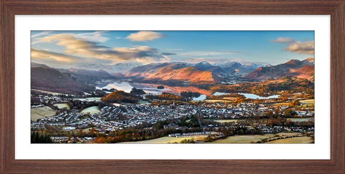 Keswick in the Morning Sunshine - Framed Print with Mount