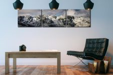 Crinkle Crags Winter Panorama - 3 Panel Canvas on Wall