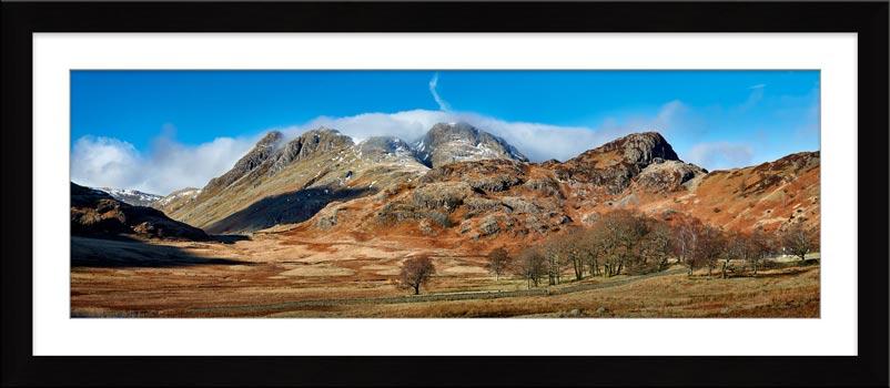 Last Snow On Langdales - Framed Print
