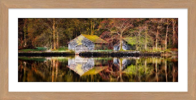 Coniston Boathouse Reflections - Framed Print