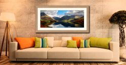 Wasdale Head Panorama - Framed Print with Mount on Wall