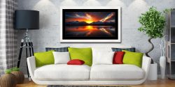 Winter Sunset Over Derwent Water - Framed Print with Mount on Wall