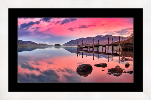 Pink Skies Derwent Water - Framed Print with Mount