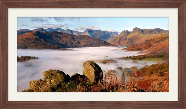 Langdale Valley Cloud Inversion - Framed Print with Mount