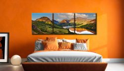 Wast Water in the Evening Sun - 3 Panel Canvas on Wall