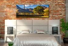 The Buttermere Oak Tree - 3 Panel Wide Mid Canvas on Wall