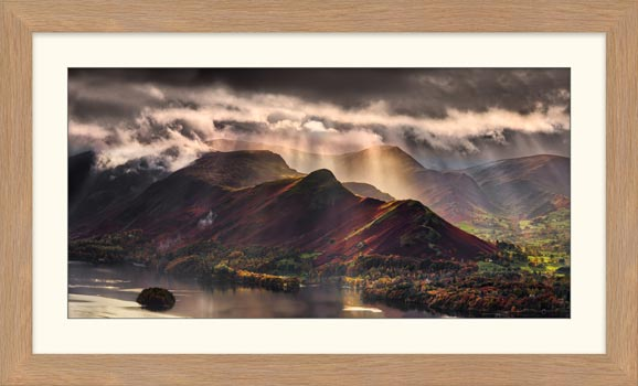 Sunshine and Showers on Cat Bells - Framed Print with Mount