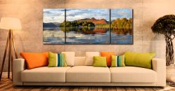 Derwent Isle and Cat Bells - 3 Panel Wide Mid Canvas on Wall