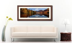 Buttermere Autumn Trees - Framed Print with Mount on Wall